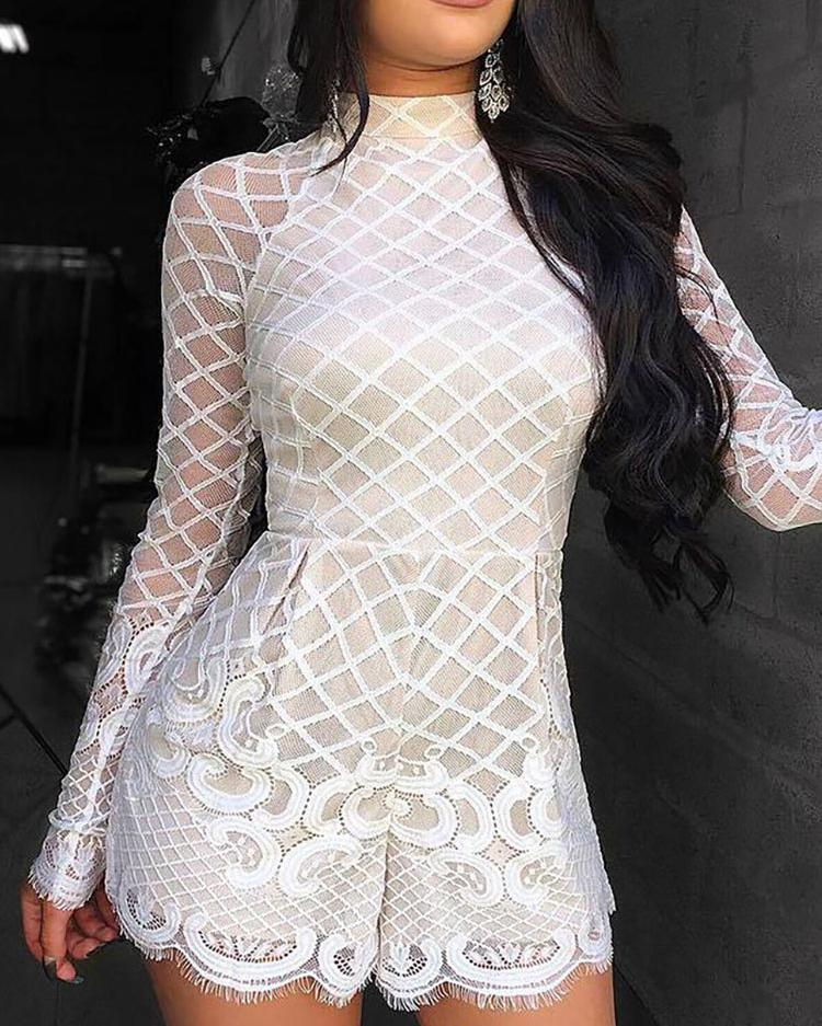 Long Sleeve Mesh Eyelash Lace Rompers