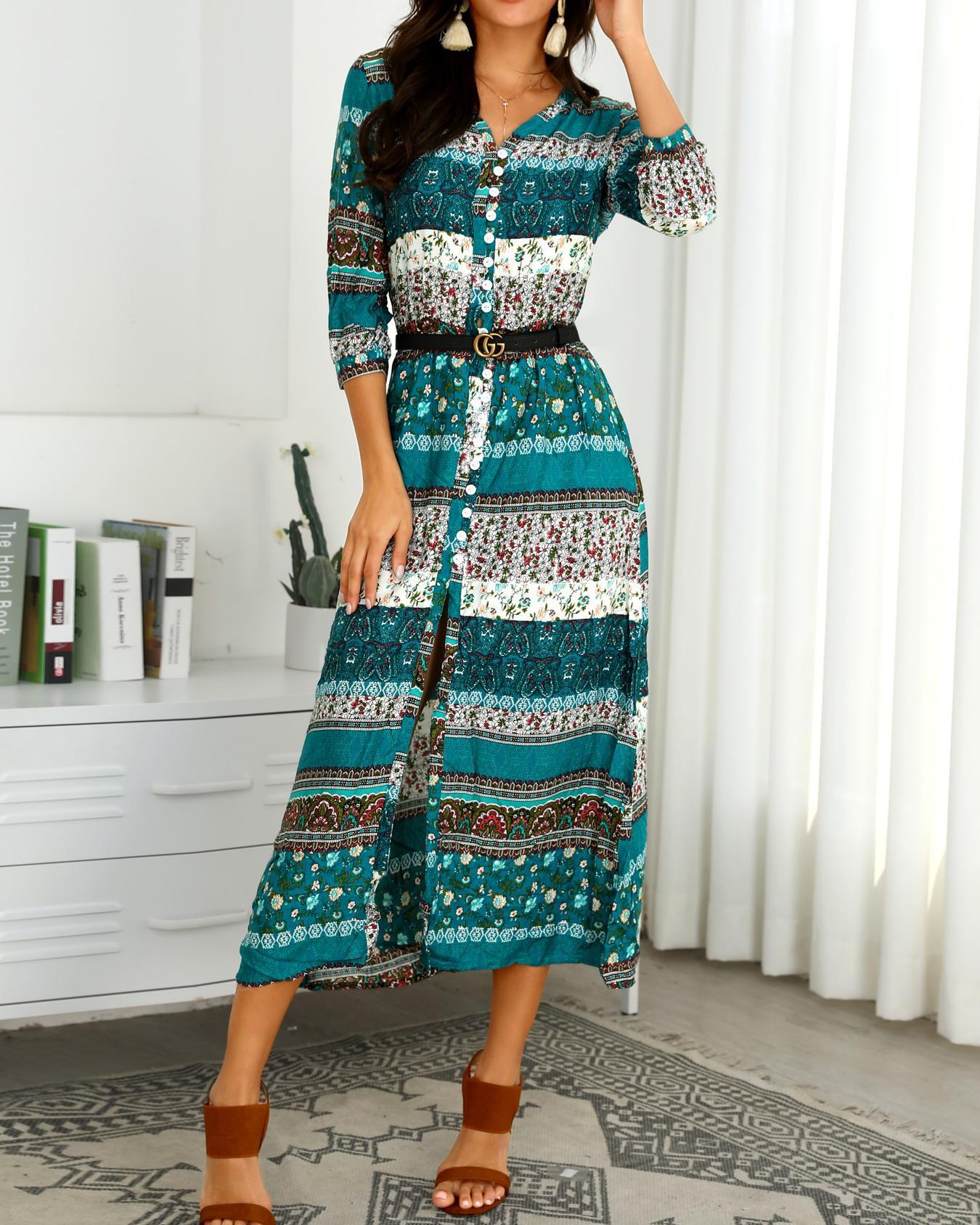 Ethnic Print Button Through Maxi Dress