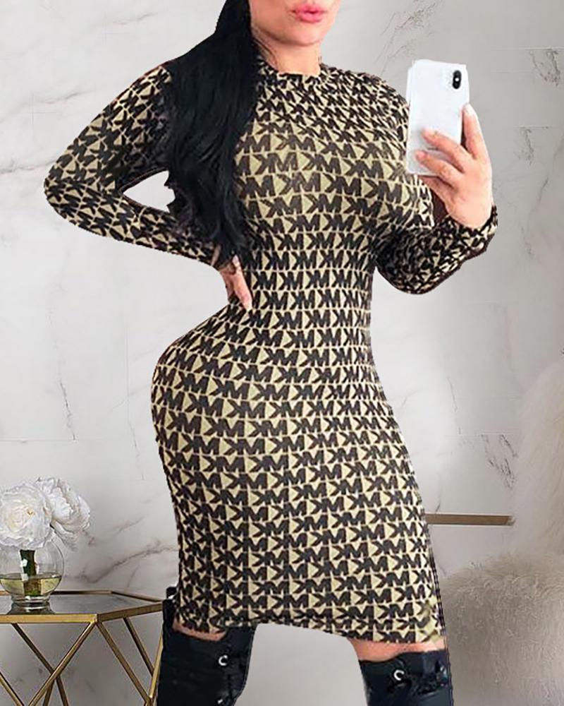 Round Neck Print Long Sleeve Bodycon Dress фото
