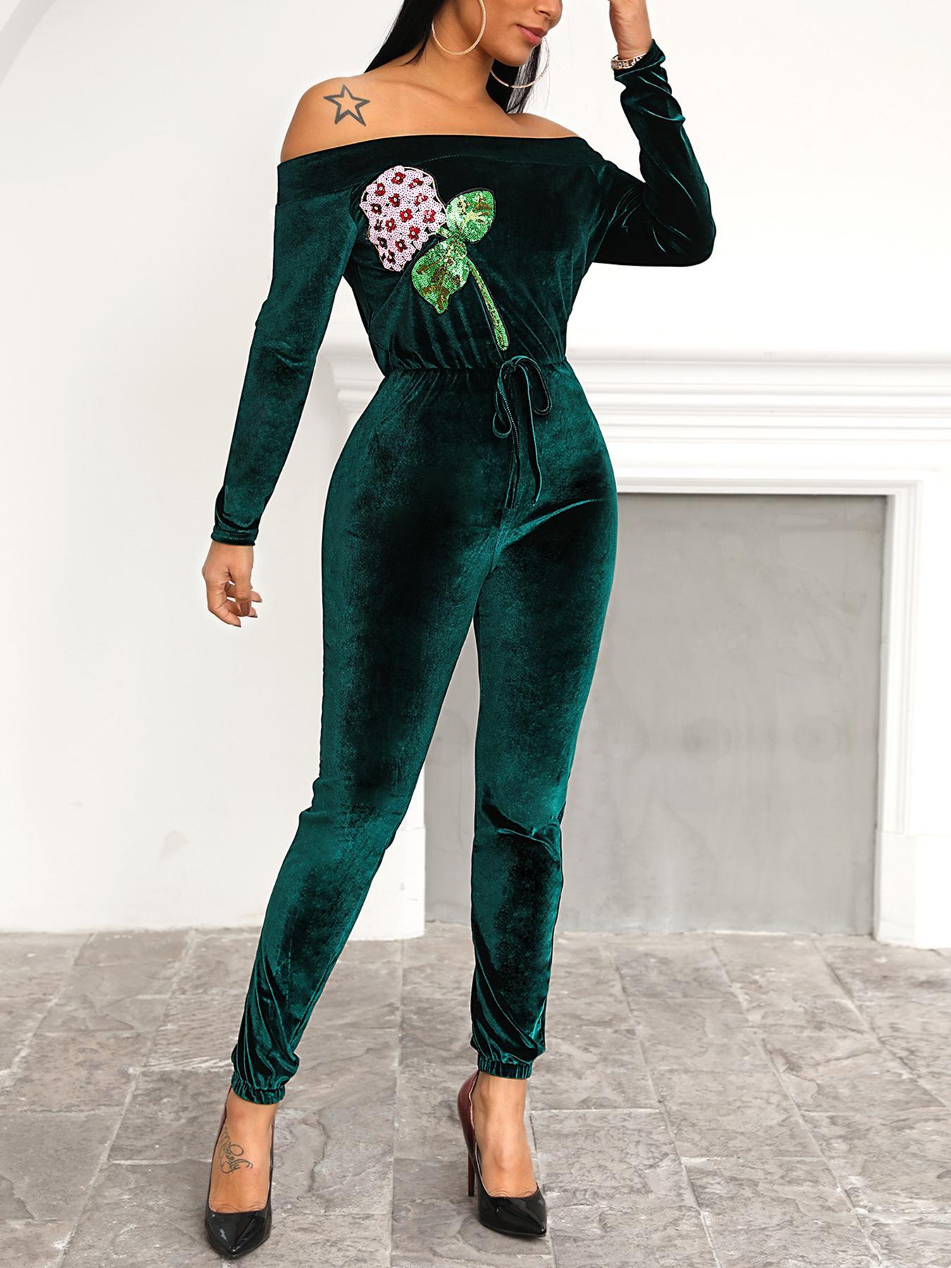 Velvet Sequin Flower Patch Jumpsuit