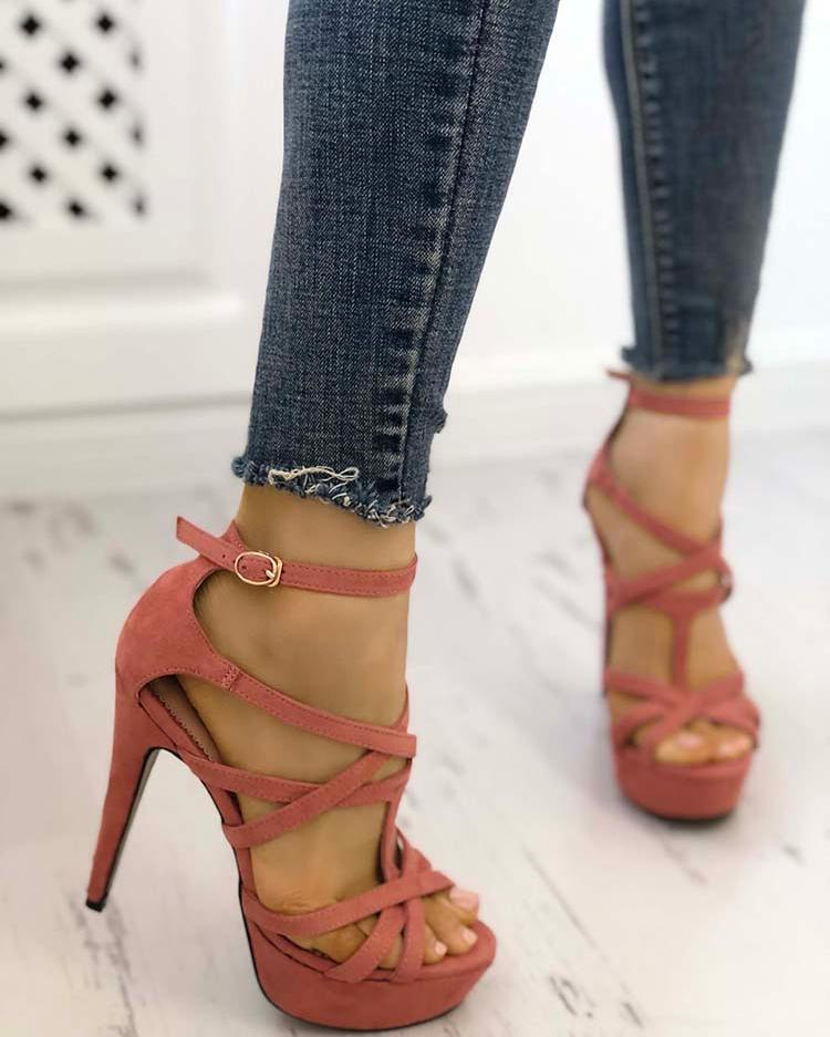 Multi-strap Buckle Platform Thin High-heeled Sandals