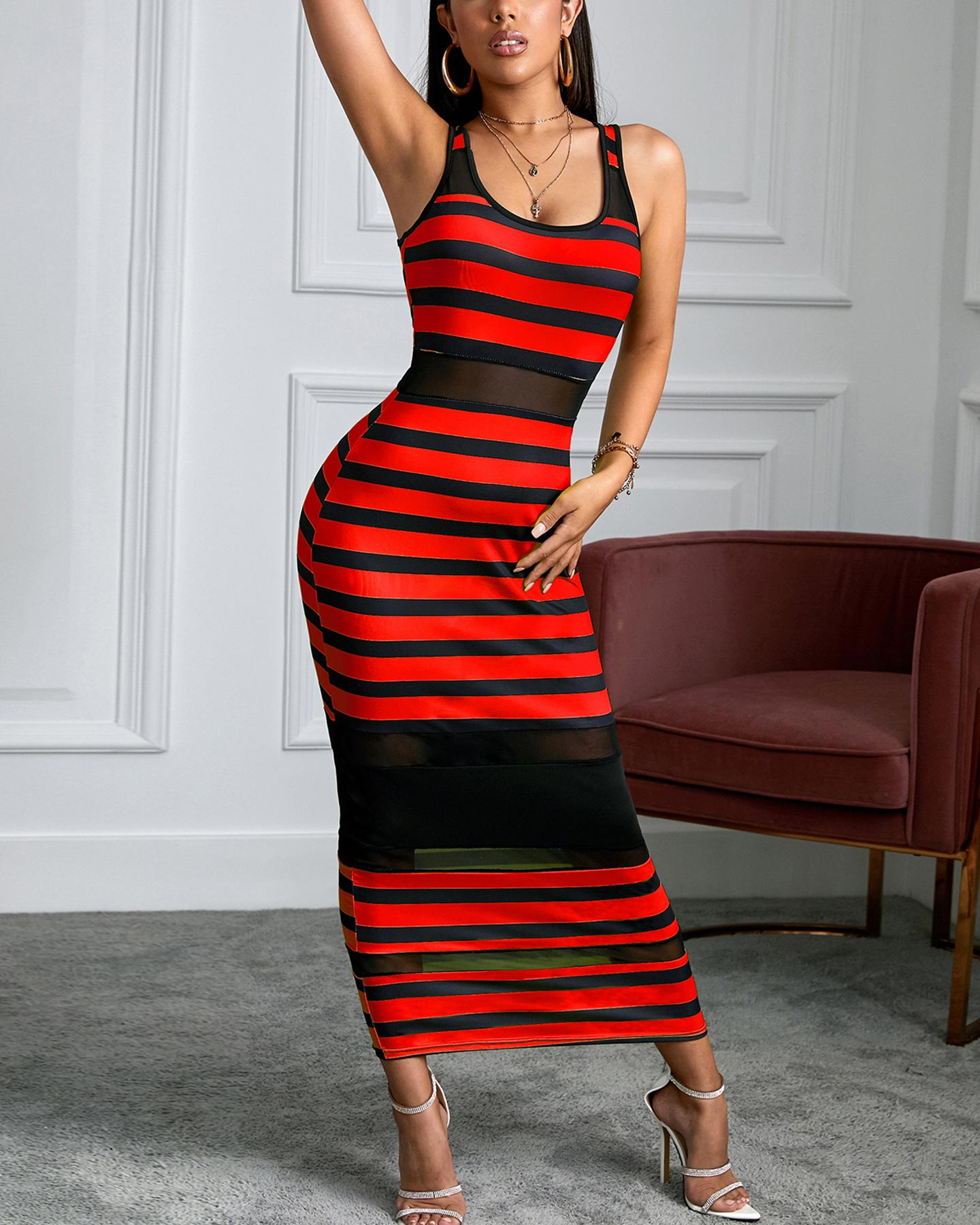 Thin Strap Striped Mesh Dress, Red