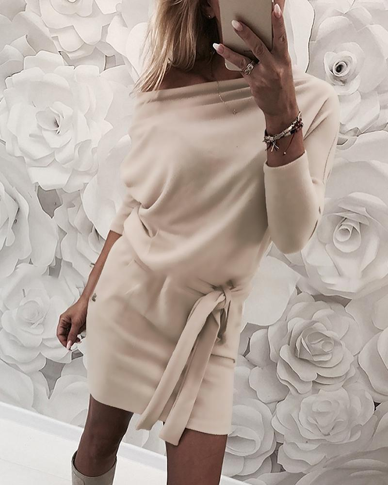 Solid Skew Neck Long Sleeve Dress, Apricot