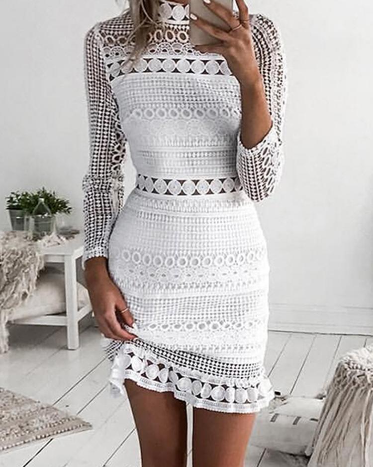 boutiquefeel / Elegante vestido de encaje ahueca hacia fuera la envoltura