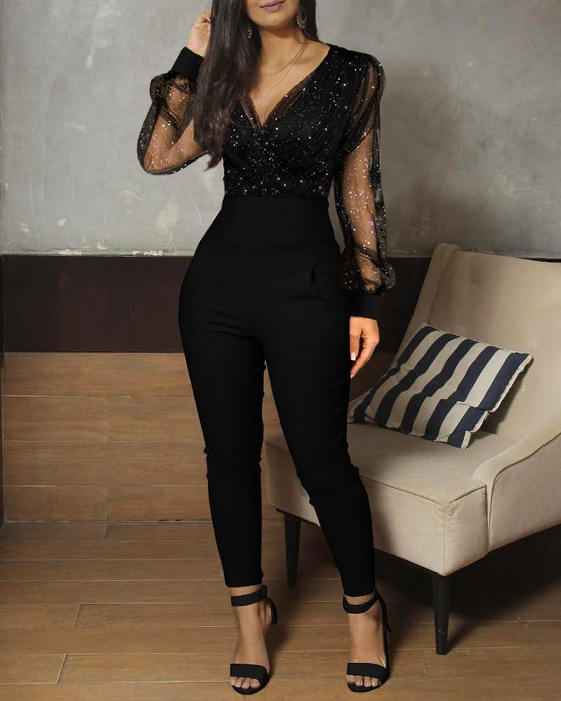 Sheer Mesh Glitter Ruched Wrap Jumpsuit фото
