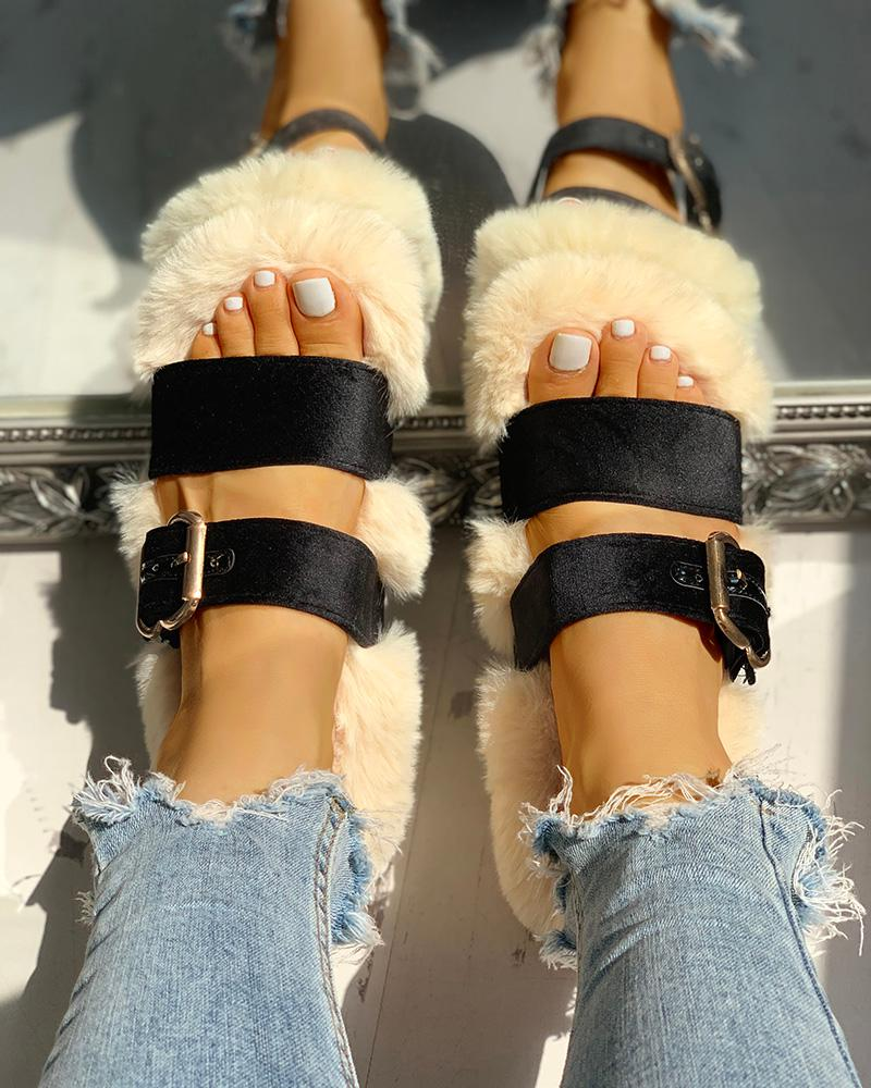 Villus Fluffy Patchwork Flat Sandals