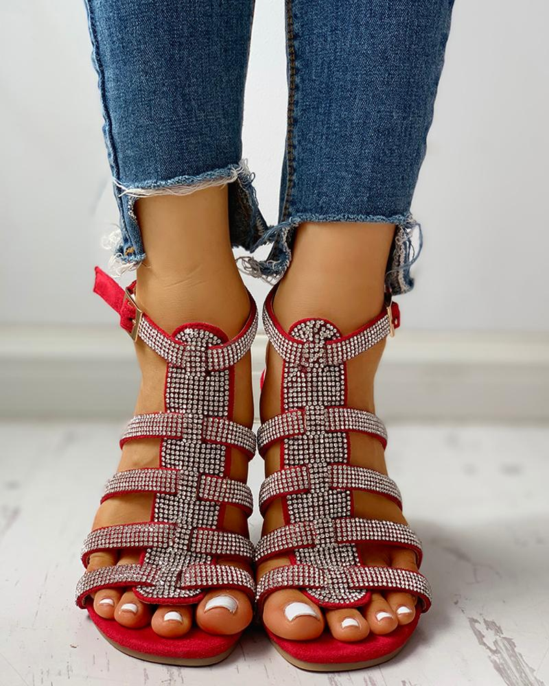 chicme / Studded Multi-Strap Ankle-buckled Flat Sandals