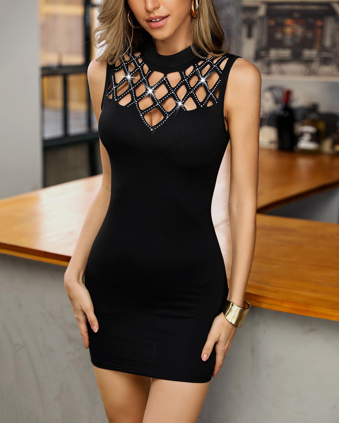 Studded Grid Hollow Out Bodycon Dress