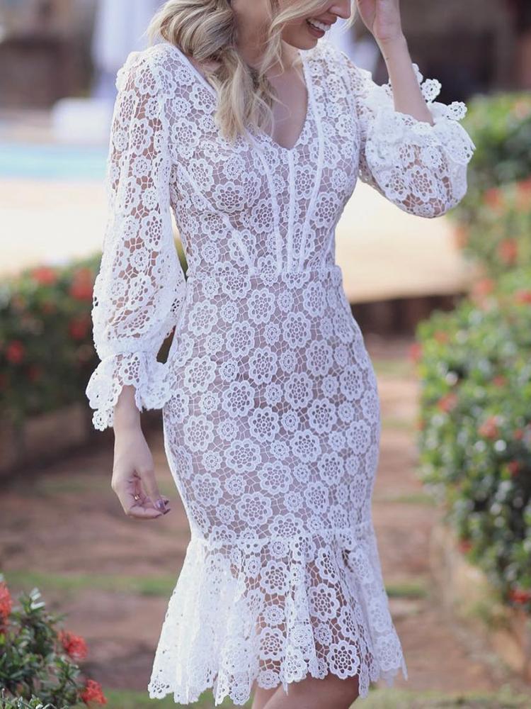 Crochet Lace Lace Up Back Fishtail Midi Dress