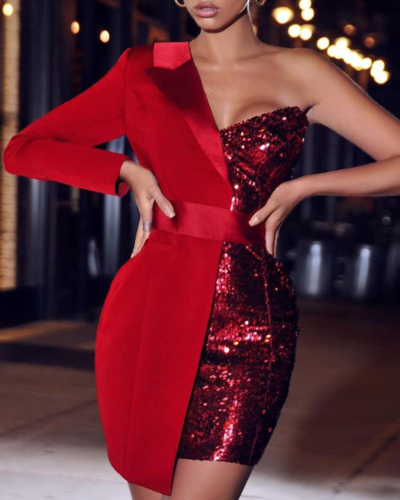 chicme / One Shoulder Sequin Patchwork Party Dress