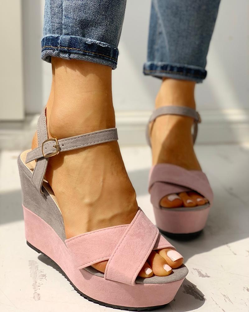 Colorblock Platform Wedge Sandals фото