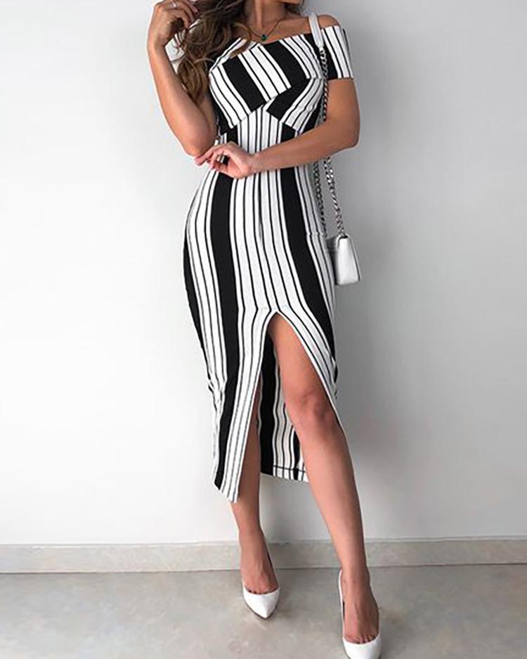 Striped Cross Over Off Shoulder Slit Dress