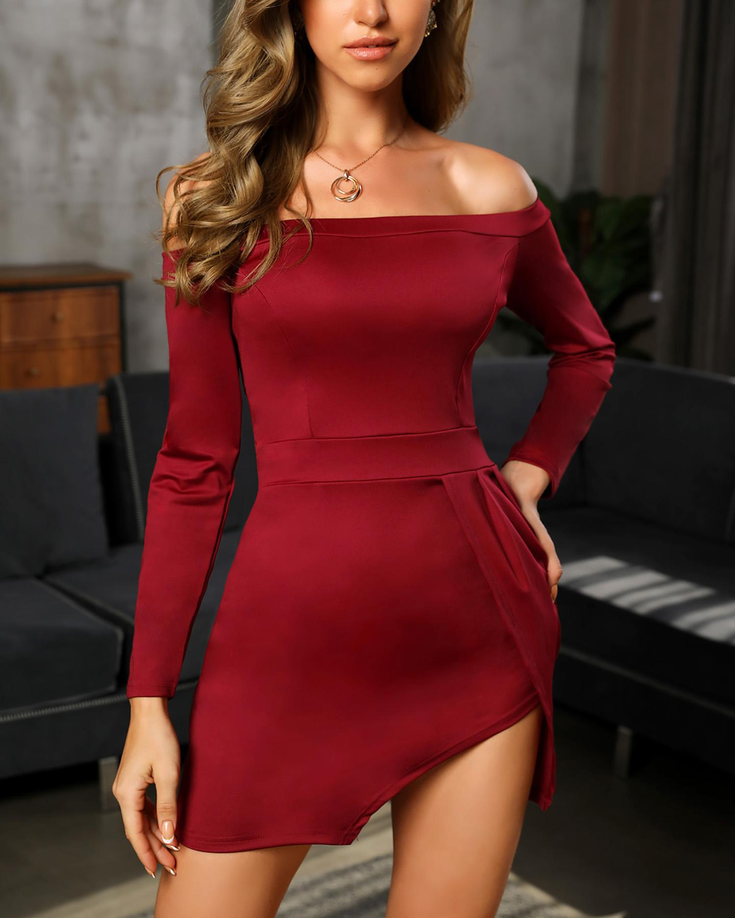 Off Shoulder Long Sleeve Slit Bodycon Dress(Without Belt) фото