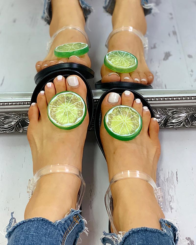 Transparent  Strap Lemon Pattern Sandals