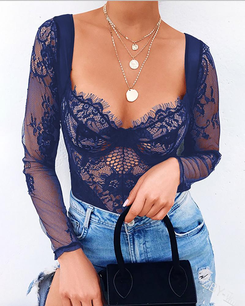 Eyelash Crochet Lace Hollow Out Bodysuit, Dark blue