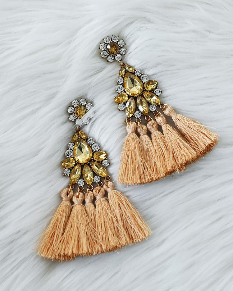 Boho Retro Brown Long Tassel Drop Earring