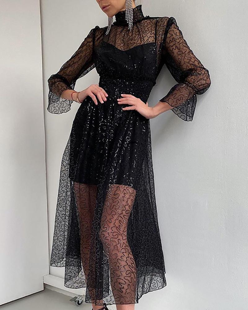 High Neck Sequined Dress & Slip Dress, Black