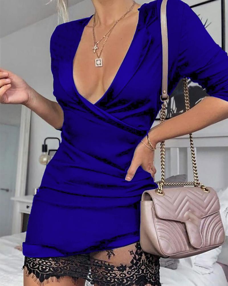 Mesh Lace Insert Wrap Dress фото