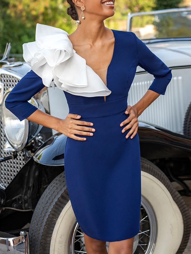 Exaggerate Ruffle Embellished Open Back Midi Dress