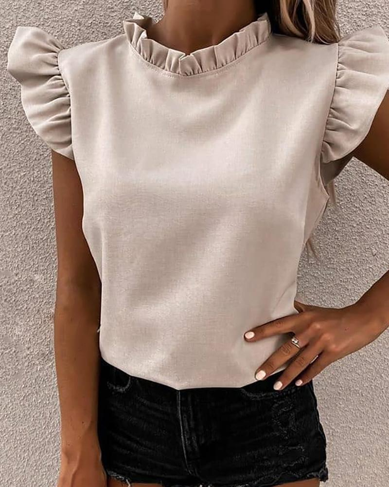 Flutter Sleeve Ruched Frill Hem Casual Top фото