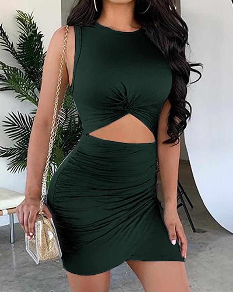 Cutout Waist Ruched Bodycon Mini Dress фото