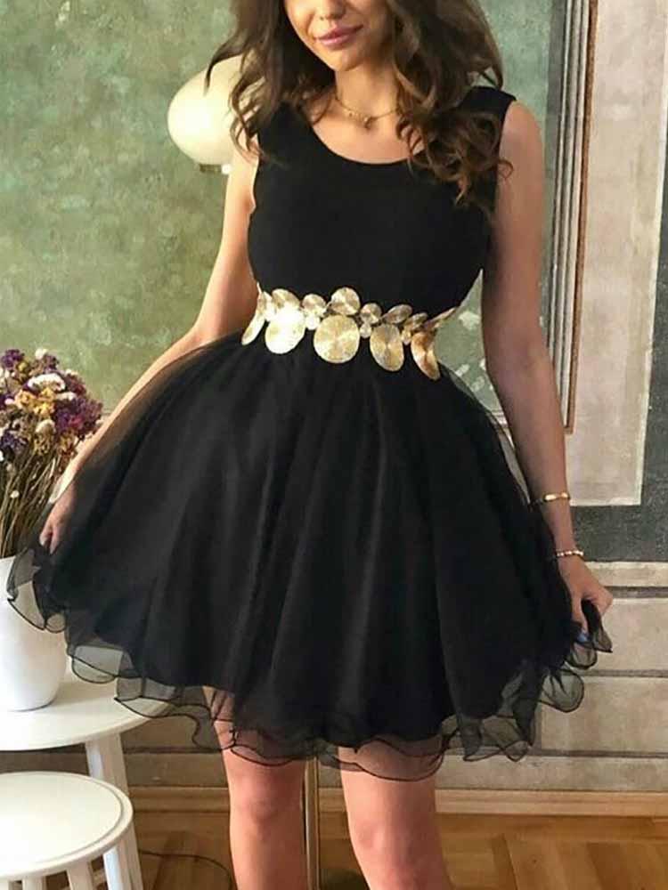 Sleeveless Pleated Mesh Litter Black Dress