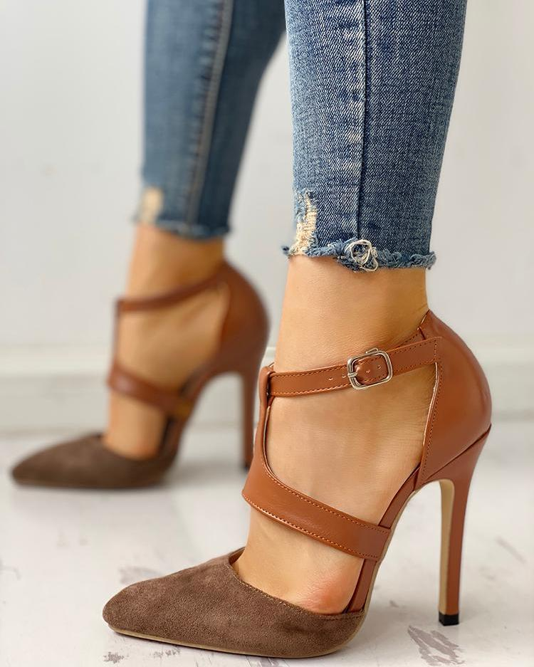 Pointed Toe Suede & PU Cut Out Heels