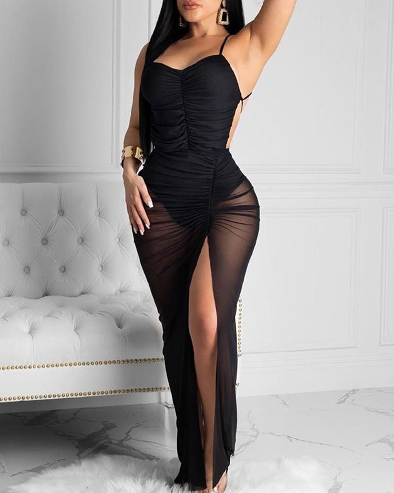 ivrose / Spaghetti Strap Ruched Slit Vestido de festa sem encosto
