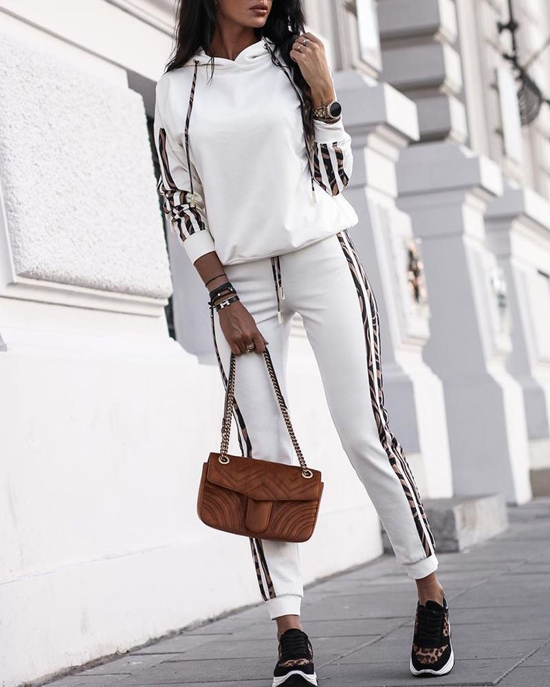 chicme / Conjuntos de calça com capuz e calça casual com capuz listrado