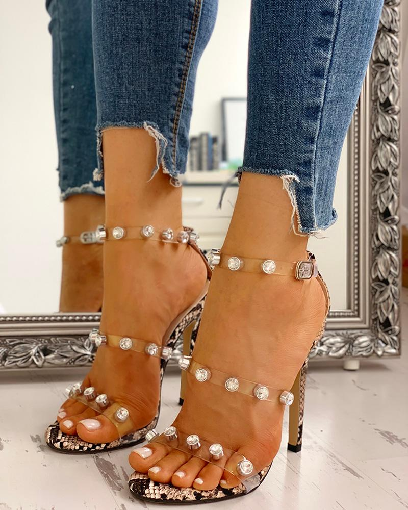 boutiquefeel / Snakeskin Print Studded Detail Thin Heels