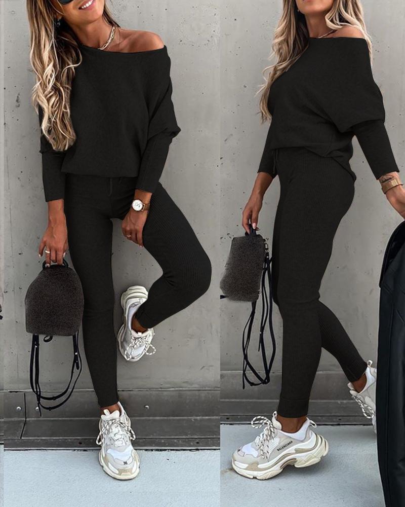 ivrose / Conjunto de pantalones con cordón de cintura alta y camiseta de manga larga sólida