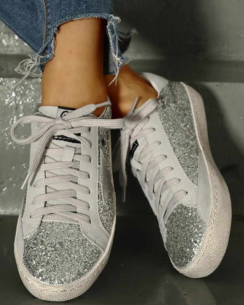 Sequins Star Design Casual Lace-Up Sneakers фото