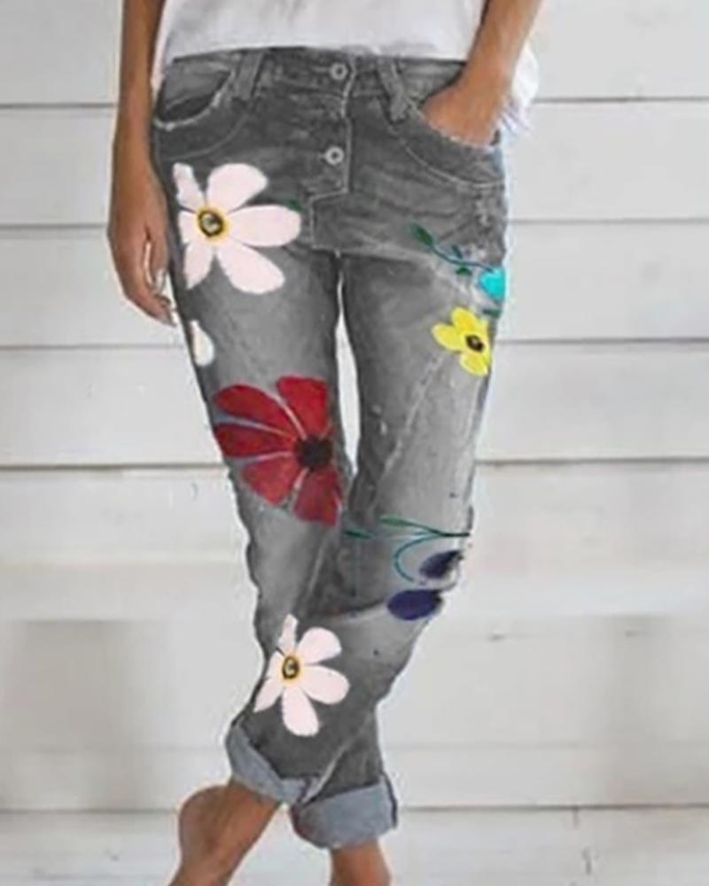 chicme / Padrão floral bolsos abotoados calças jeans