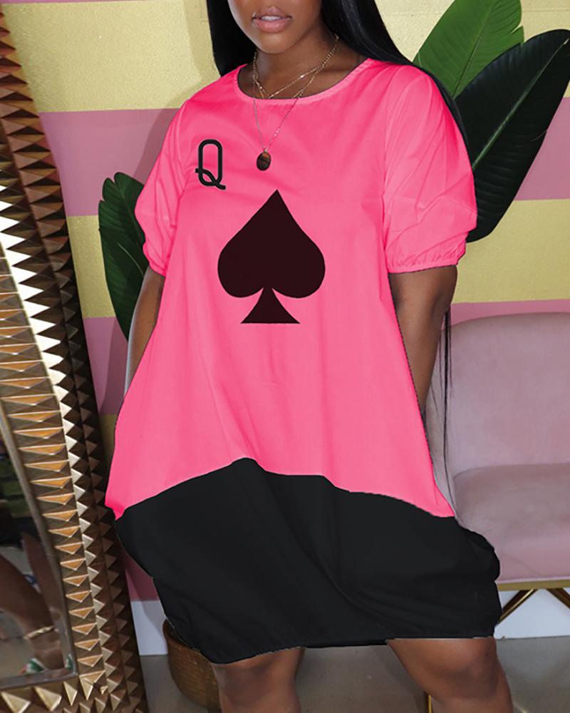 ivrose / Poker Print Colorblock Midi Dress