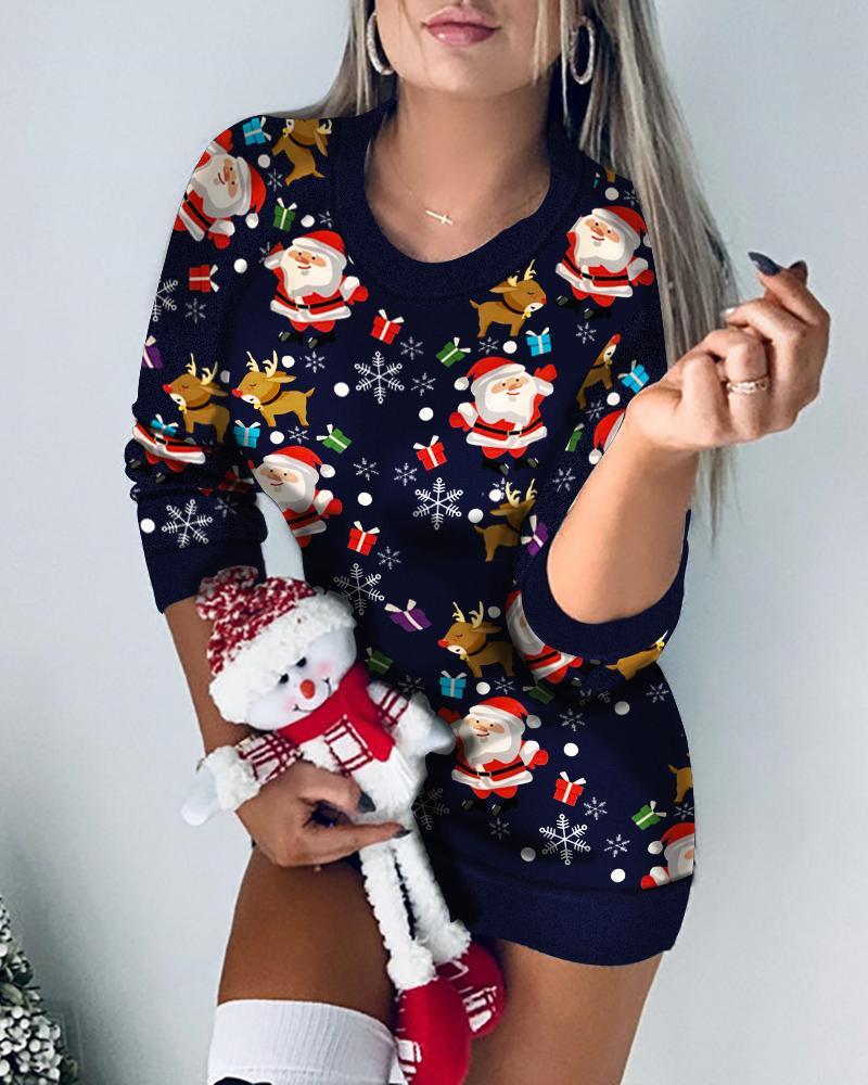 boutiquefeel / Vestido de punto casual con estampado mixto de reno navideño