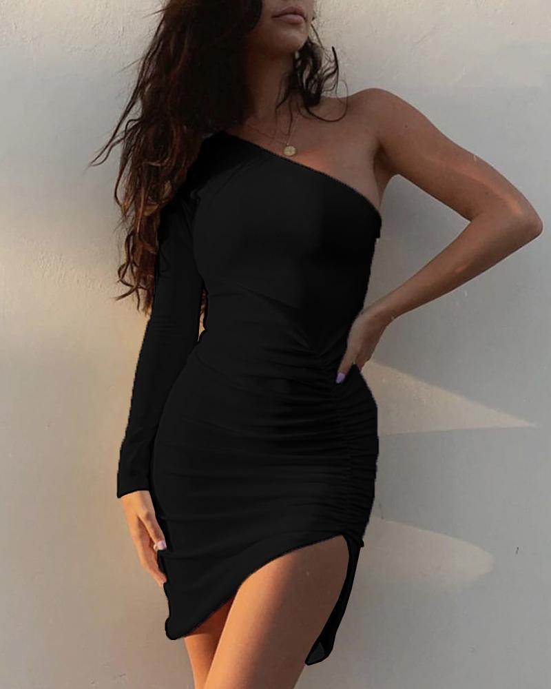 Solid One Shoulder Ruched Slit Dress фото