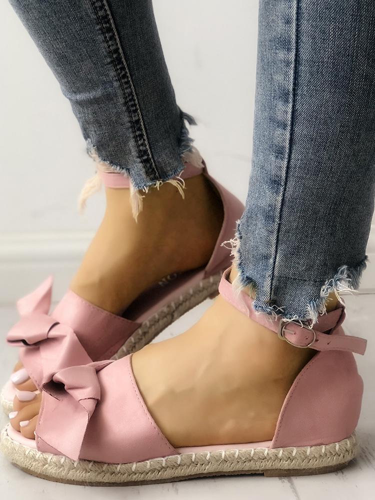 Bowknot Embellished Espadrille Flat Sandals, Pink