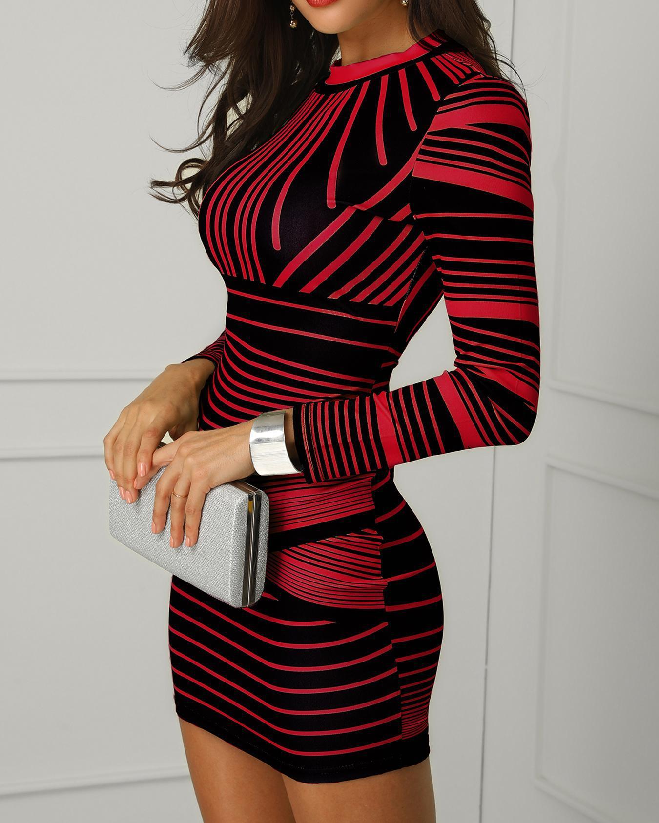 Contrast Striped Long Sleeve Bodycon Dress фото
