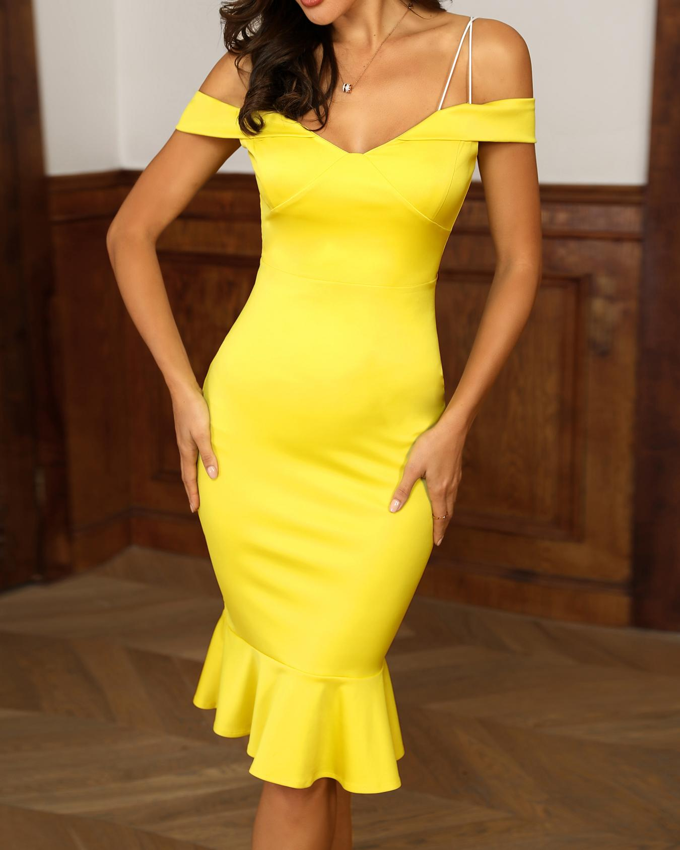 Solid Spaghetti Strap Bodycon Dress фото