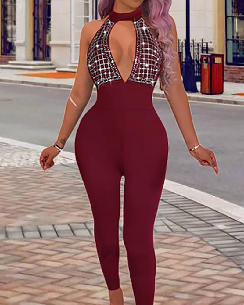 Hot Stamping Halter Cutout Jumpsuits, Wine red