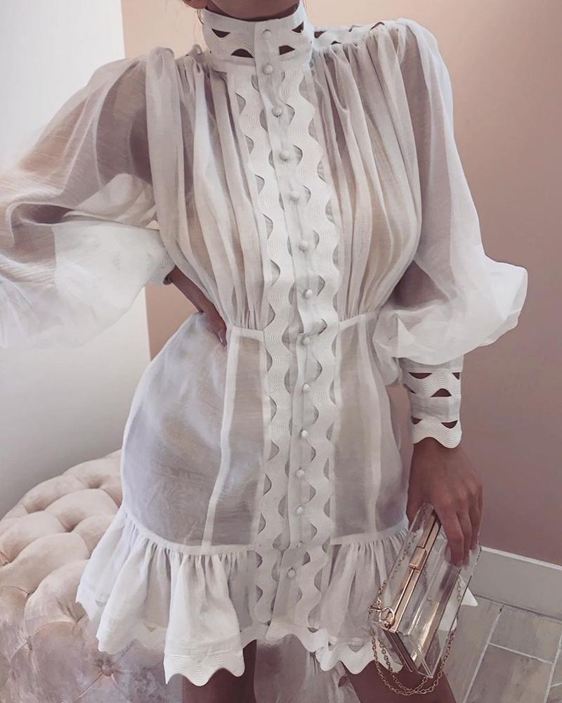 chicme / Lantern Sleeve High Neck Cutout Detail Dress