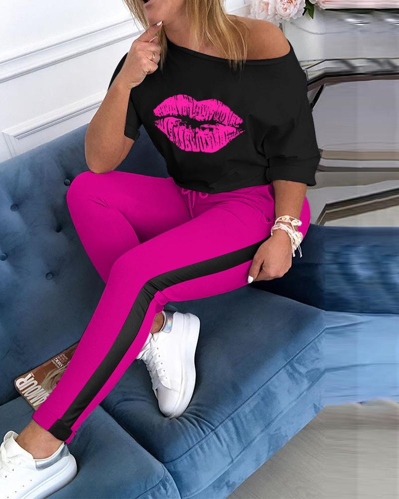 Lip Print Top & Colorblock Striped Pant Sets фото