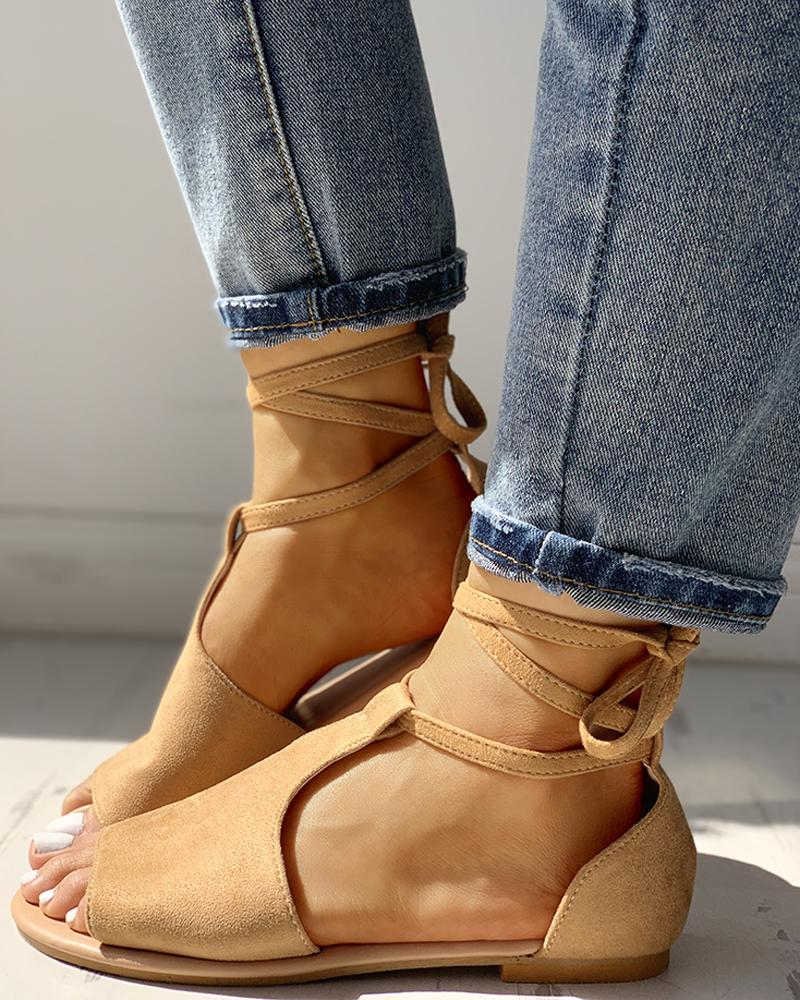 Suede Ankle Strap Crisscross Flat Sandals фото