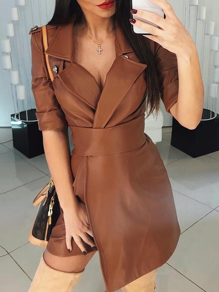 chicme / Detalhe do botão Roll-Up Sleeve Wrap PU Dress