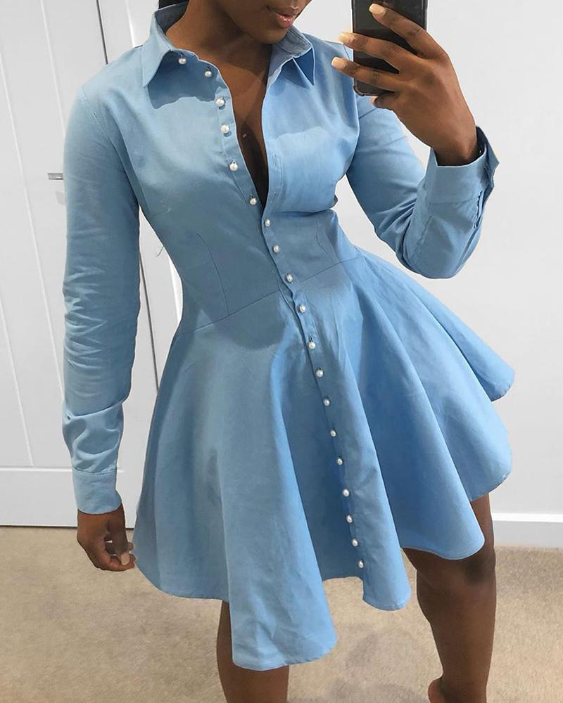 Solid Buttoned Casual Pleated Dress