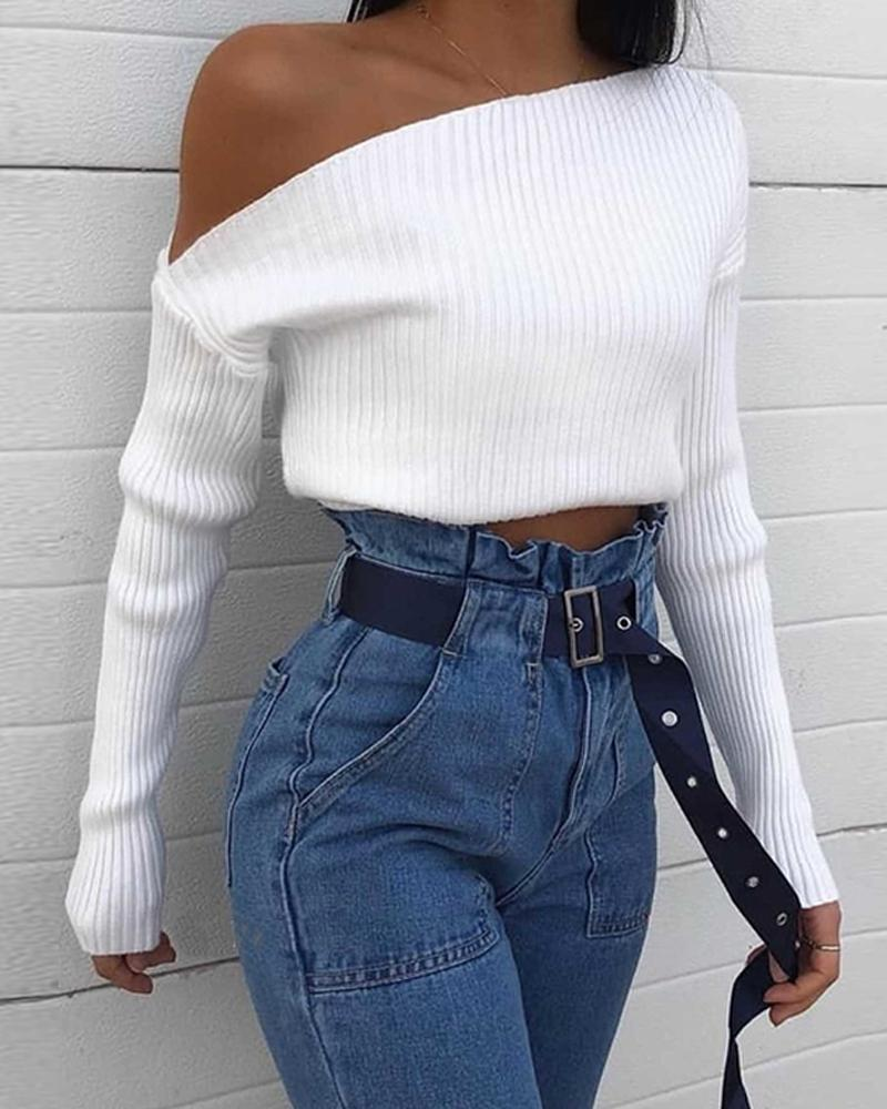 White One-Shoulder Knitted Top фото