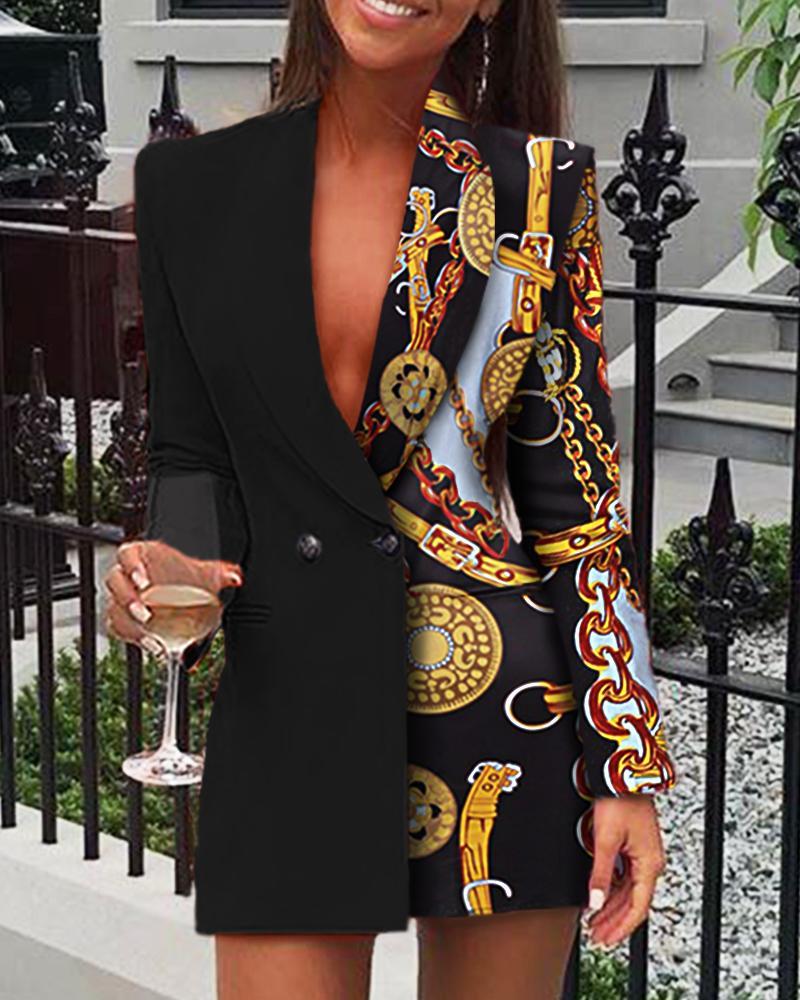 boutiquefeel / Cadeia impressão manga comprida vestido blazer