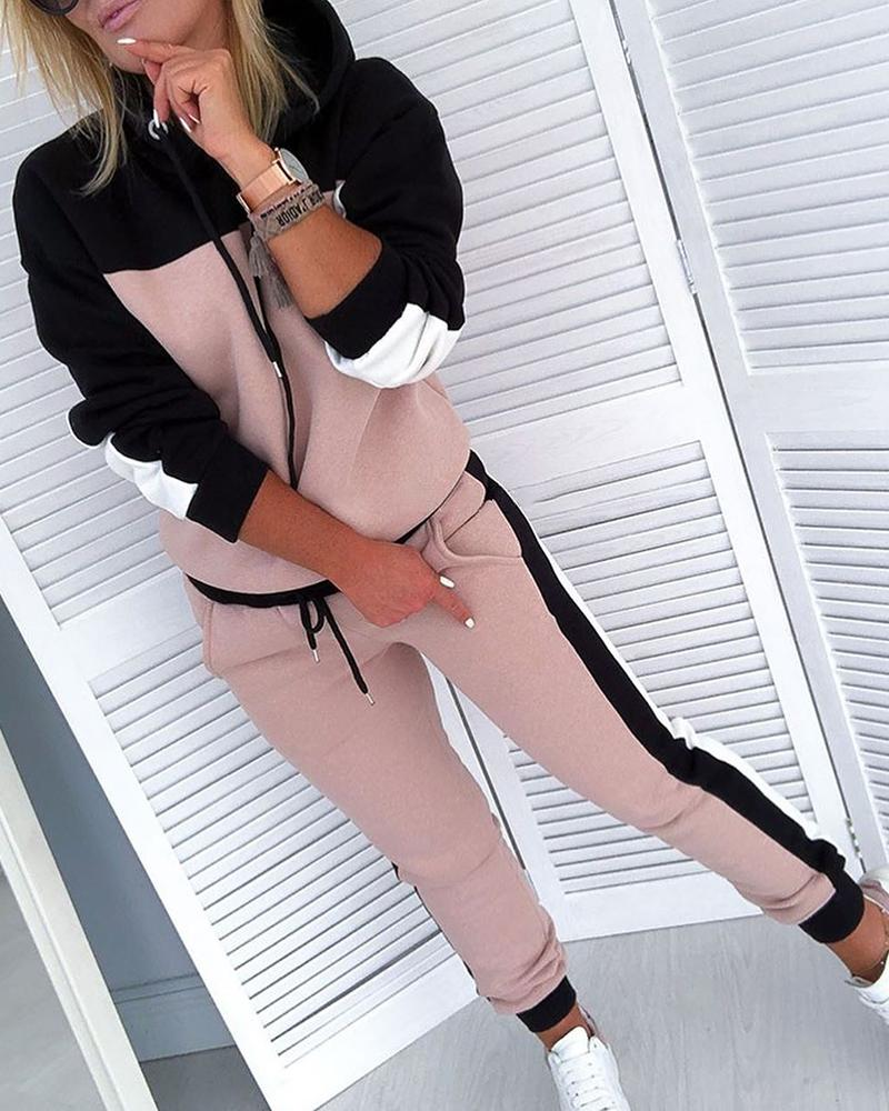 Colorblock Drawsting Design Hooded Top & Pant Sets фото