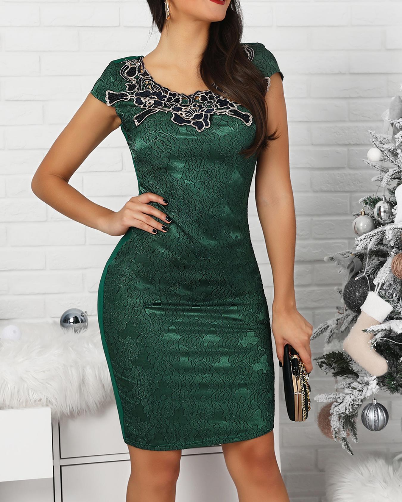 Floral Applique Slit Back Lace Dress