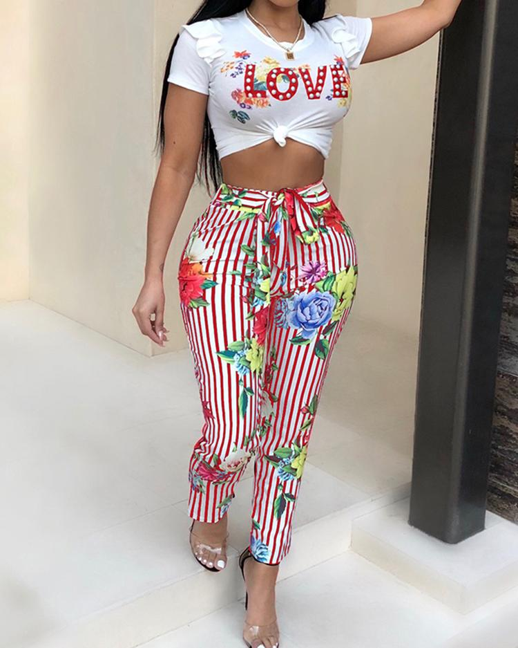 Print Cropped Top&Pinstriped Floral Belted Pant Set фото